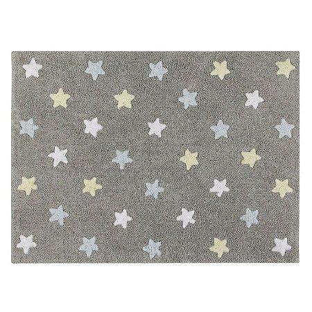Tapete Estrelas Tricolor Cinza Azul 1,20x1,60 - Lorena Canals