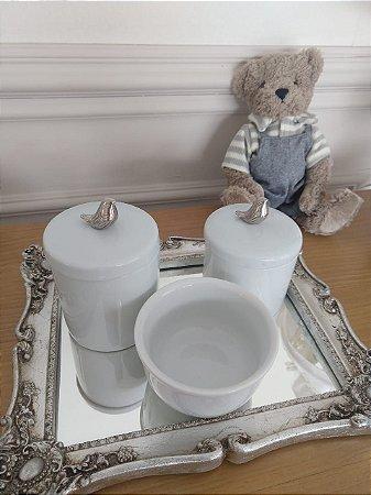 Kit Higiene Porcelana Pássaro Prata - 3 Peças