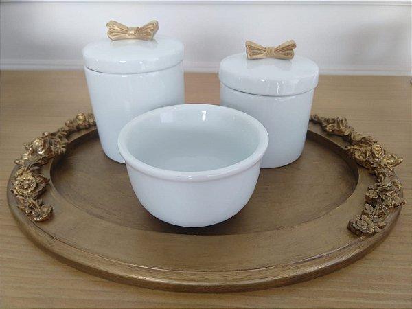 Kit Higiene Porcelana Laço Dourado - 3 Peças