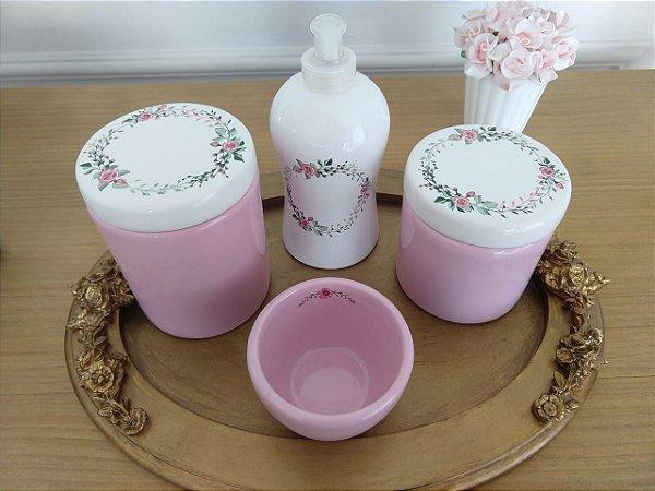 Kit Higiene Porcelana Rosa e Floral - 4 Peças