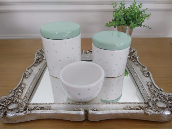 Kit Higiene Porcelana Poá Verde - 3 Peças