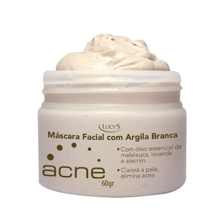 Argila Branca Máscara Facial Acne com Óleo de Melaleuca Lavanda e Alecrim Lucys 60g