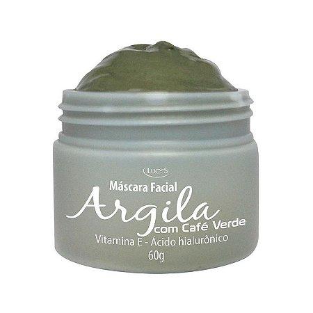 Máscara Facial de Argila Verde com Café, Ácido Hialurônico e Vitamina E com 60g