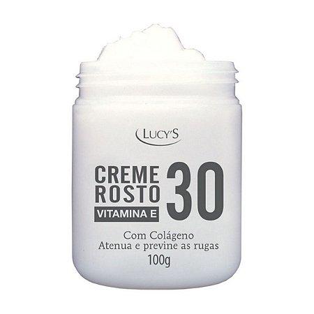Creme Rosto com Colágeno Atenua Previne Rugas com Vitamina E 30 Anos Lucys 100g