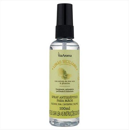 Spray Antosséptico para Mãos - Via Aroma - Limão Siciliano - 100ml