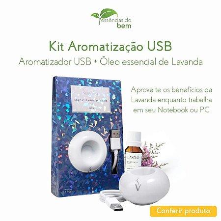 KIT AROMATIZADOR USB COM ÓLEO ESSENCIAL DE LAVANDA