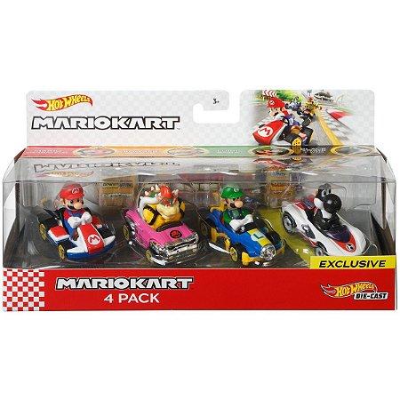 Hot Wheels Mario Kart 4 Pack 1:64 Bundle