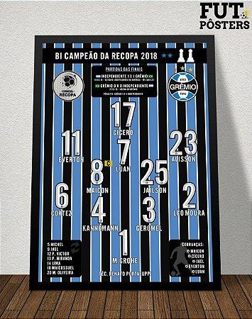 Pôster Grêmio Bi Campeão da Recopa 2018 - 29,7 x 42 cm (A3)