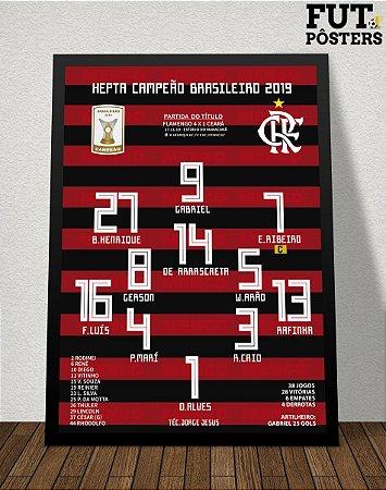 Pôster Flamengo Hepta Campeão Brasileiro 2019 - 29,7 x 42 cm (A3)