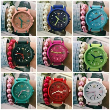 Kit 10 Relógios Adidas Colors + Caixas da Marca + Pulseiras