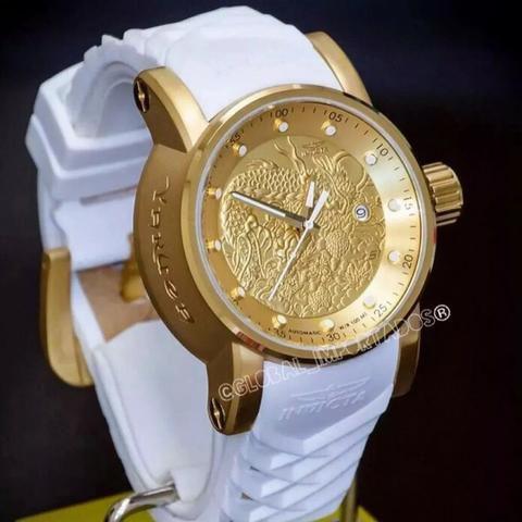 Relógio Invicta Yakuza S1 Dragon Branco Prova D'agua