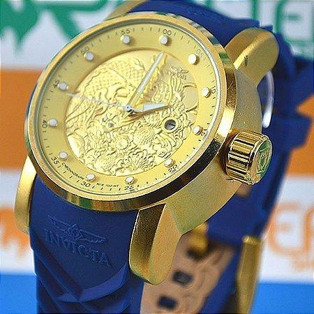 Relógio Invicta Yakuza S1 Dragon Azul Prova D'agua