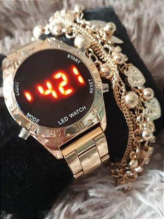 Relógio Digital Feminino + Pulseira Frete Grátis Todo Brasil