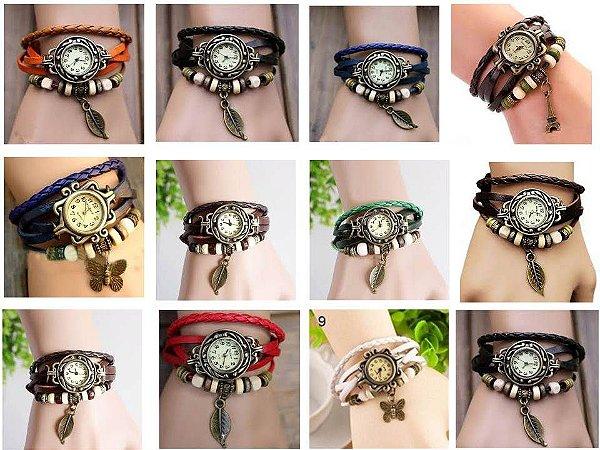 Kit 05 Relógios Femininos Vintage em Couro
