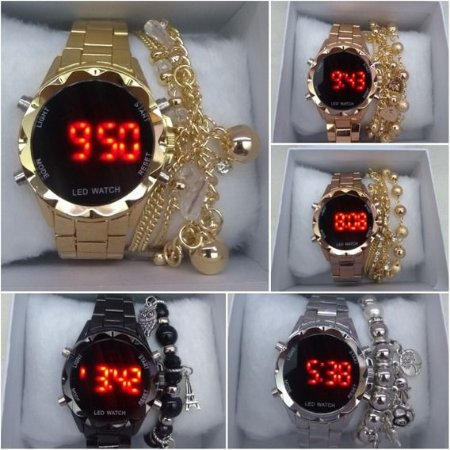 Kit 05 Relógios Femininos Digital Led + Caixinha + Pulseiras