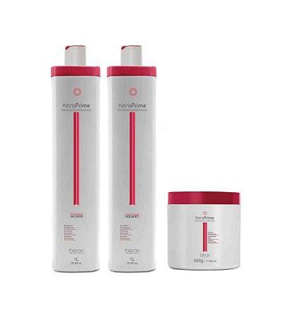 Progressiva Sem Formol Kera Prime - Shampoo 1L + Trat. Express Liss 1L + Mascará 500gr