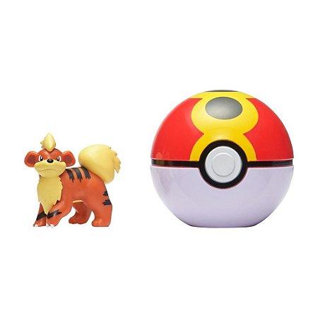 Pokémon -Clip N Go - Growlithe + Pokebola Repeat Ball -Sunny