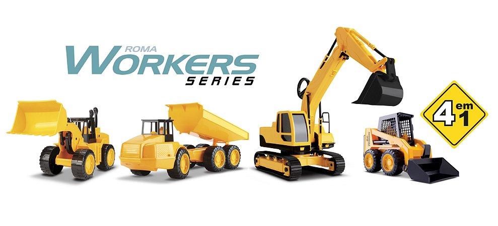 Roma Workers Series - 4 em 1 - Escavadeira, Carregadeira, Caminhão e Bob - Roma Brinquedos