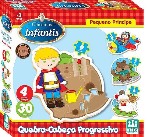 Quebra Cabeça Progressivo em Madeira - 30 peças - Pequeno Príncipe - NIG