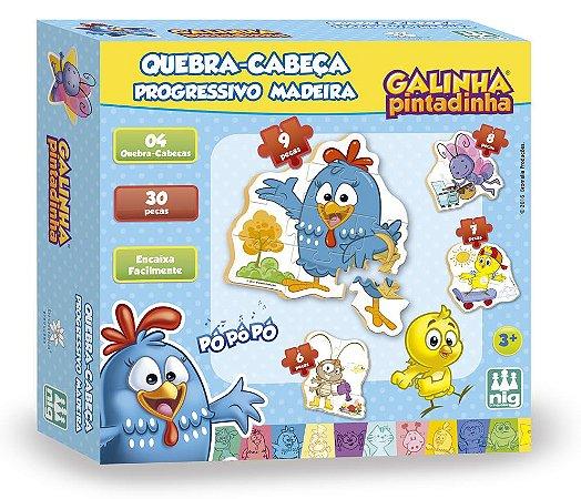 Quebra Cabeça Progressivo em Madeira - 30 peças - Galinha Pintadinha - NIG