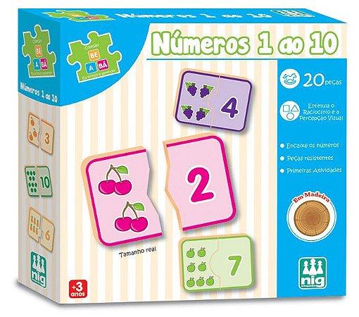 Números 1 ao 10 em Madeira - 20 peças - Pedagógico Alfabetização - NIG
