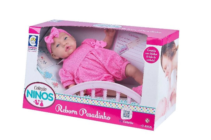 Boneca Ninos Reborn Pesadinho Menina - 44cm - Cotiplás