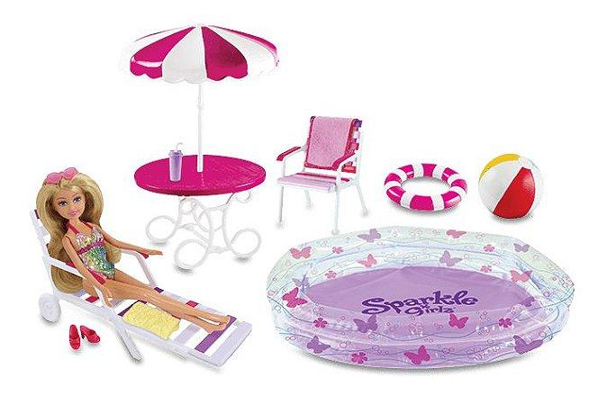 Boneca Funville Sparkle Girlz Articulada - Festa da Piscina - DTC
