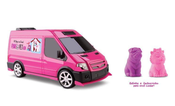 Van Pet Shop - Pink Pet Van c/ Cachorro e Gatinho - OMG KIDS