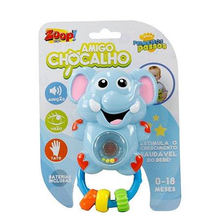Chocalho C/ Som E Luz Para Bebê - Elefante - Zoop Toys