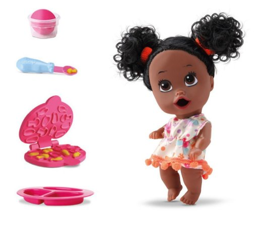 Boneca Little Dolls Come Come e Faz Caquinha - Negra C/ Cabelo - Divertoys