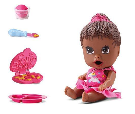 Boneca Little Dolls Come Come E Faz Caquinha - Negra - Divertoys