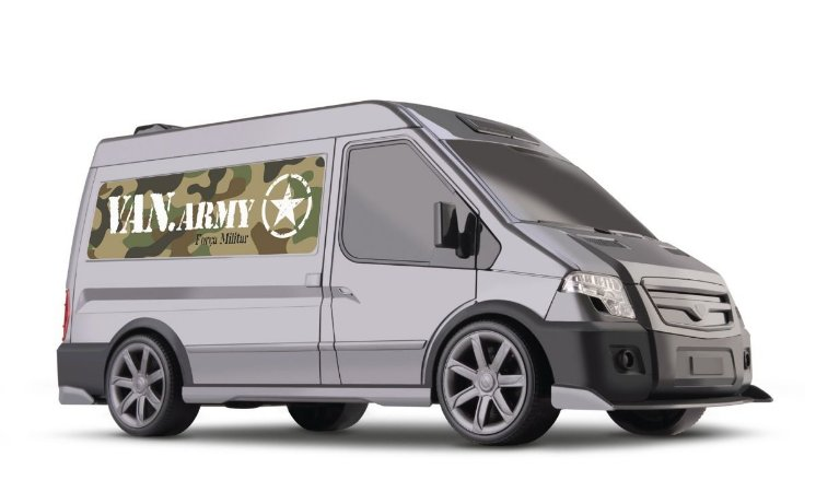 Carrinho Força Militar - Van Army - 35cm - Porta Abre - Omg
