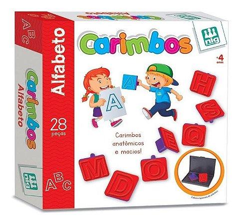 Jogo Carimbos Letras Alfabeto - 28 Peças - Pedagógico - Nig