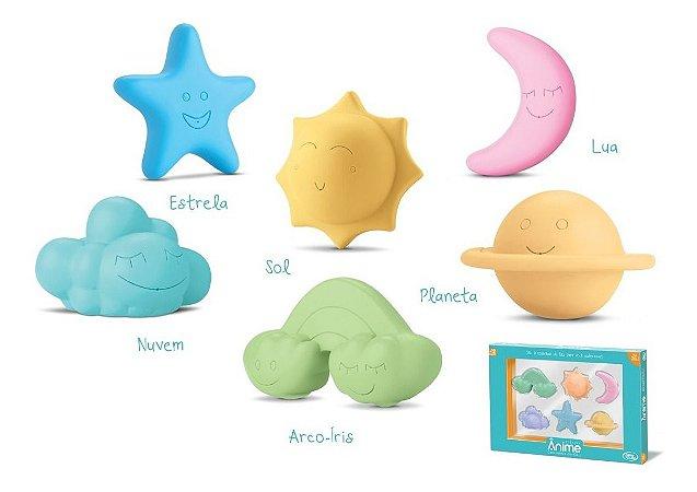 Coleção Ânime Céu 6 Itens Banho Com Ventosa - Omg Kids