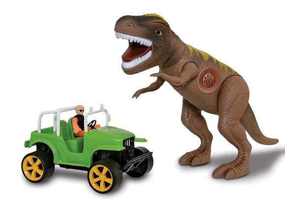 Dinossauro Tirano Rex Safari C/ Som E Jeep - Adijomar