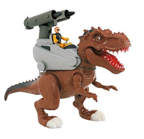 Dinossauro Rex Attack Jurassic 40cm Míssil + Som - Adijomar