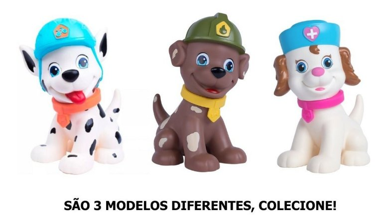 Kit 3 Cachorros 25cm - Esquadrão Patrulha Canina - Supertoys