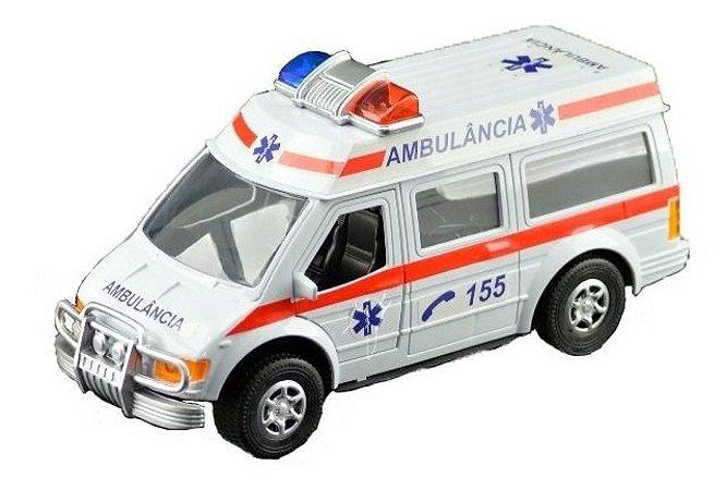 Carrinho Ambulância C/ Fricção - Portas Abrem - 27,5cm - Cks