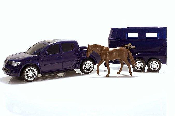 Carrinho Pick-up Rx L200 Haras - C/ Cavalo - Roma Brinquedos