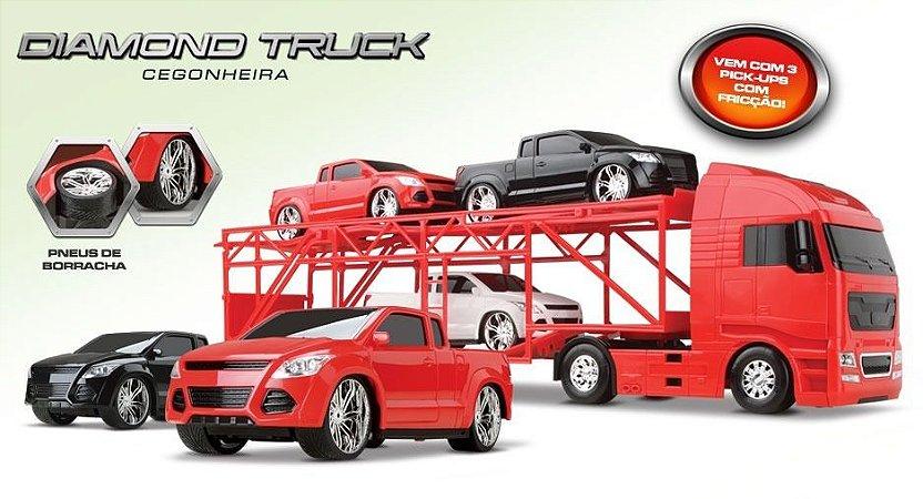 Diamond Truck Cegonheira C/ 3 Pick- Up De Fricção - Roma