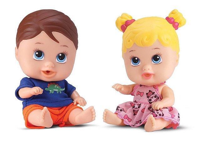 Boneca Bebê Little Dolls Gêmeos - Menino E Menina- Divertoys