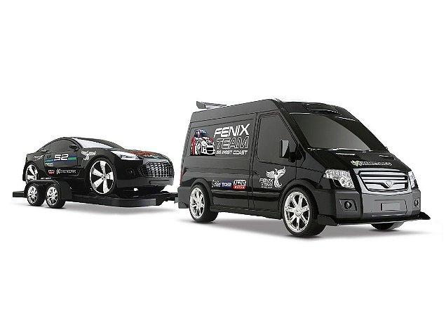 Supervan Tuning Car - Van C/ Carro Engatado- Roma Brinquedos