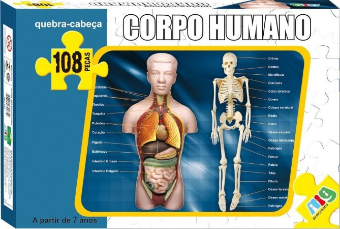 Quebra Cabeça - Corpo Humano - C/ 108 Peças - Nig
