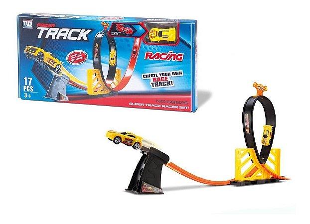 Pista Racing Looping + Carrinho - C/ 17 Peças - Samba Toys