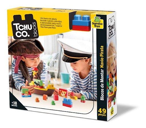 Tchuco Blocos De Montar Navio Pirata - C/ 49 Peças - Samba