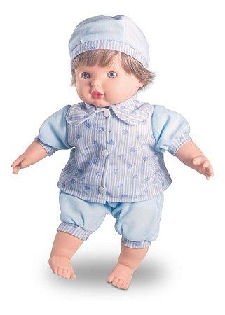 Boneco Bebê João Pedro - C/ 39cm e Sons de Bebê - Milk