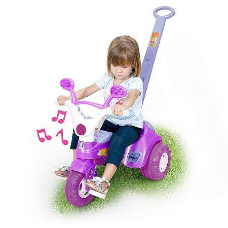 Triciclo Velotrol Baby Music com Haste e Som - Roxo - Cotiplás