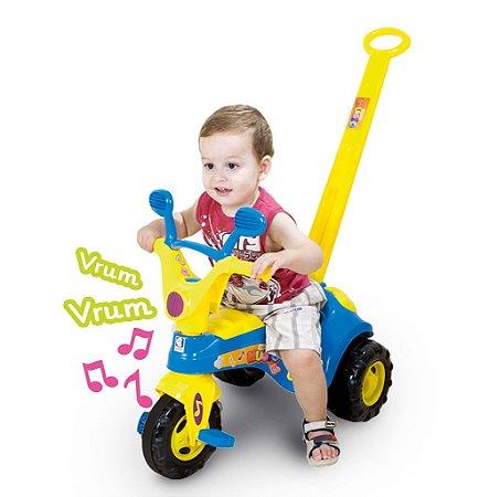 Triciclo Velotrol Baby Music com Haste e Som - Azul - Cotiplás