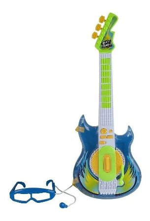 Guitarra Infantil Rock Star Azul - Óculos c/ Microfone- Zoop