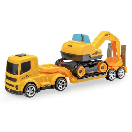Caminhão Mamute Prancha c/ Escavadeira - 39cm - Usual